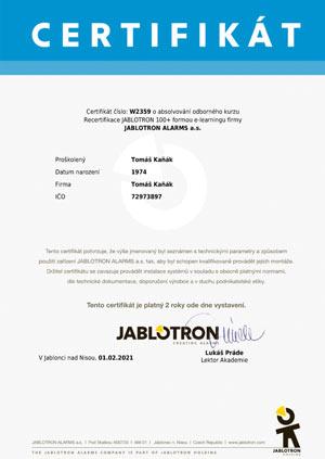 Certifikát Jablotron 100